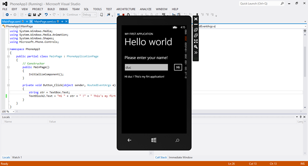 Hello World Window Phone 8