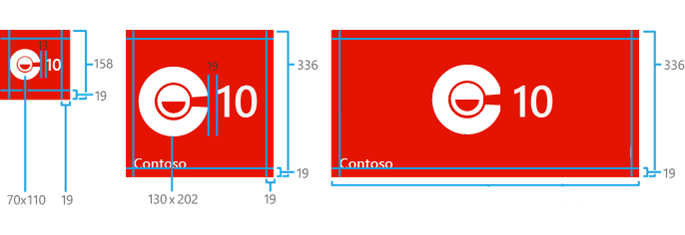 Kích thước của các thành phần trong một Iconic Tile (Không có nội dung đi kèm theo kích thước lớn)