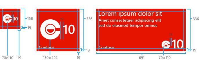 Kích thước của các thành phần trong một Flip Tile