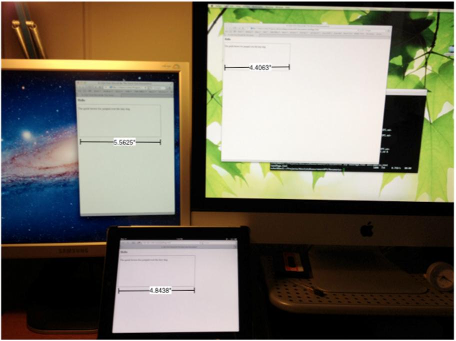 Cùng một văn bản, một khổ chữ, nhưng sẽ có cỡ khác nhau khi hiển thị trên các màn hình độ phân giải khác nhau